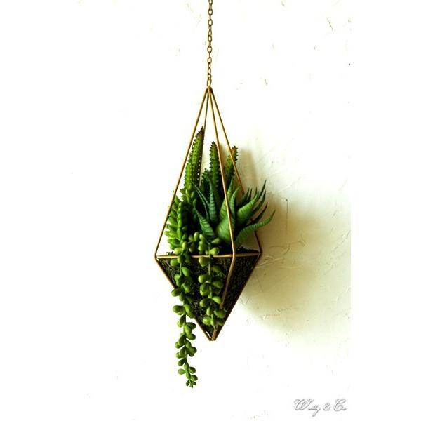 人工観葉植物 Succulent Wire Square L (B) ハンギング ( 多肉植物 フェイクグリーン 壁飾り 壁掛け ウォールグリーン )|wutty