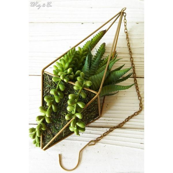 人工観葉植物 Succulent Wire Square L (B) ハンギング ( 多肉植物 フェイクグリーン 壁飾り 壁掛け ウォールグリーン )|wutty|02