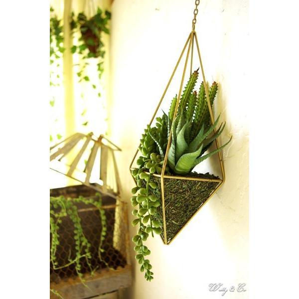 人工観葉植物 Succulent Wire Square L (B) ハンギング ( 多肉植物 フェイクグリーン 壁飾り 壁掛け ウォールグリーン )|wutty|06