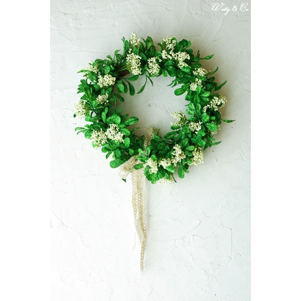 リース Green Wreath Ribbon ( 壁掛け 人工観葉植物 フェイクグリーン 壁飾り ハンギング )|wutty