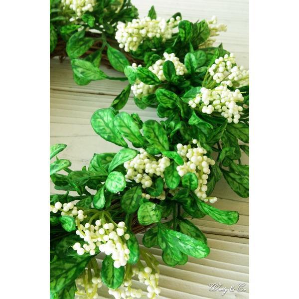 リース Green Wreath Ribbon ( 壁掛け 人工観葉植物 フェイクグリーン 壁飾り ハンギング )|wutty|02