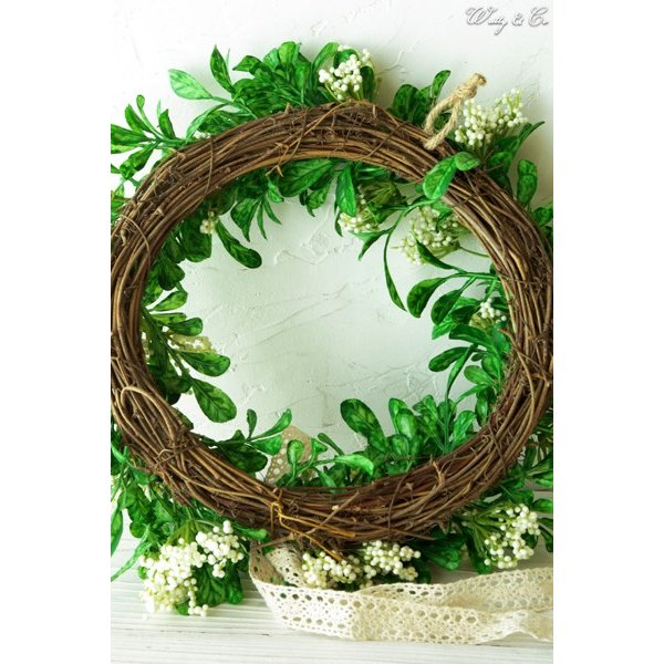 リース Green Wreath Ribbon ( 壁掛け 人工観葉植物 フェイクグリーン 壁飾り ハンギング )|wutty|04