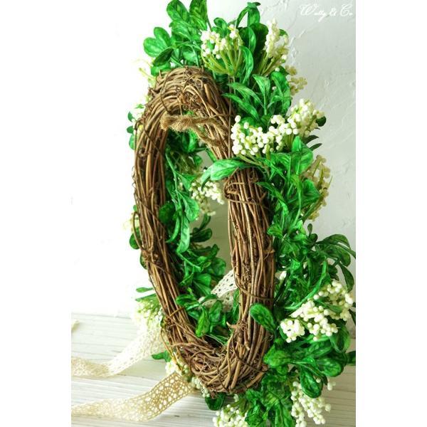 リース Green Wreath Ribbon ( 壁掛け 人工観葉植物 フェイクグリーン 壁飾り ハンギング )|wutty|05
