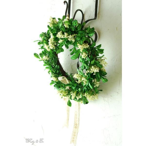 リース Green Wreath Ribbon ( 壁掛け 人工観葉植物 フェイクグリーン 壁飾り ハンギング )|wutty|07
