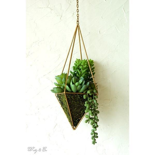 人工観葉植物 Succulent Wire Square L (A) ハンギング ( 多肉植物 フェイクグリーン 壁飾り 壁掛け ウォールグリーン ) wutty