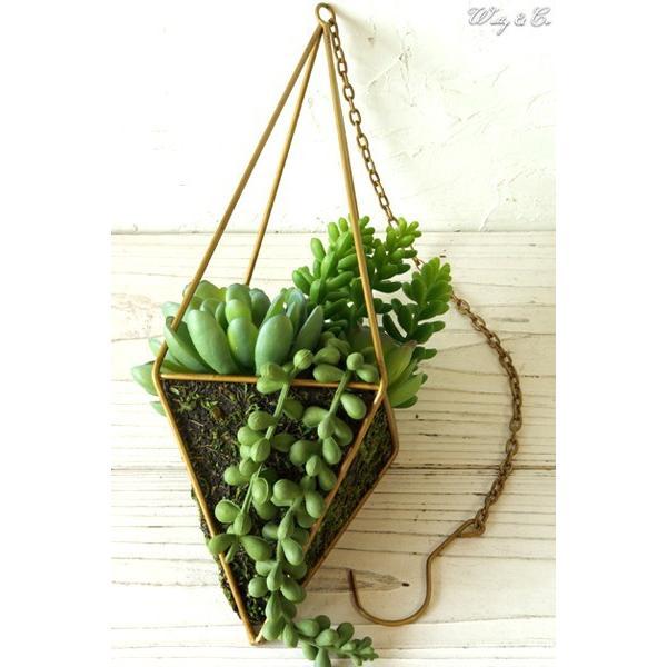 人工観葉植物 Succulent Wire Square L (A) ハンギング ( 多肉植物 フェイクグリーン 壁飾り 壁掛け ウォールグリーン ) wutty 02