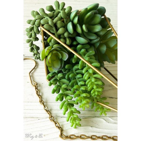 人工観葉植物 Succulent Wire Square L (A) ハンギング ( 多肉植物 フェイクグリーン 壁飾り 壁掛け ウォールグリーン )|wutty|03