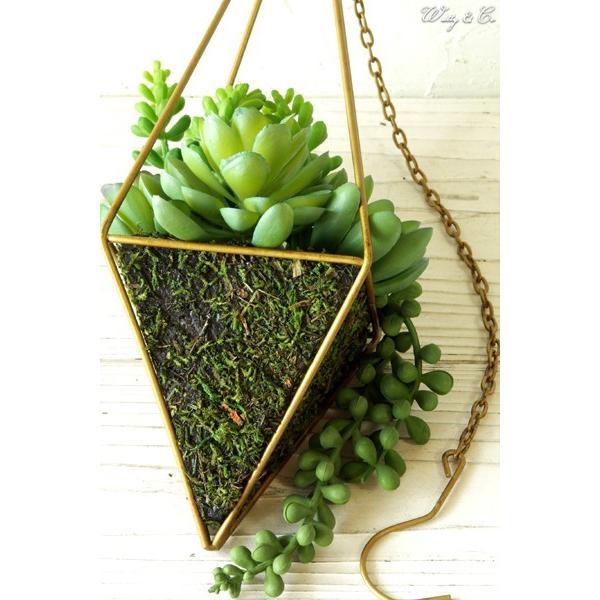 人工観葉植物 Succulent Wire Square L (A) ハンギング ( 多肉植物 フェイクグリーン 壁飾り 壁掛け ウォールグリーン ) wutty 04