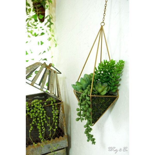 人工観葉植物 Succulent Wire Square L (A) ハンギング ( 多肉植物 フェイクグリーン 壁飾り 壁掛け ウォールグリーン ) wutty 06