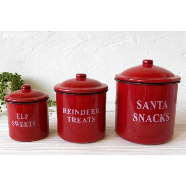 保存容器 ホーロー キャニスター 3個set Red wutty
