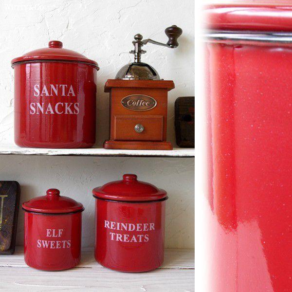 保存容器 ホーロー キャニスター 3個set Red wutty 03