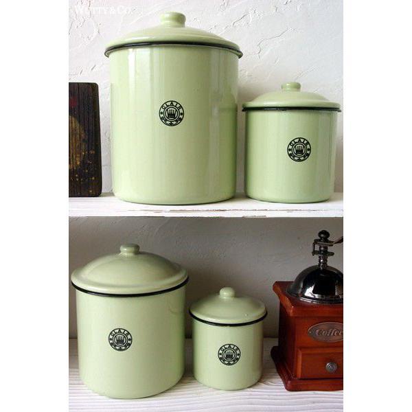 保存容器 ホーロー キャニスター 4個set Green|wutty|02