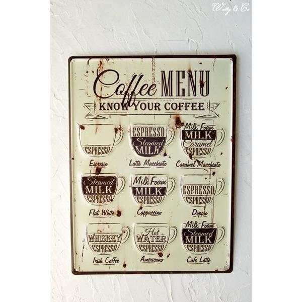 ティンプレートL Coffee Menu エンボス加工 ( ブリキ看板 壁掛け 壁飾り メタルプレート サインプレート スチールサイン メタルサイン ) KISP|wutty