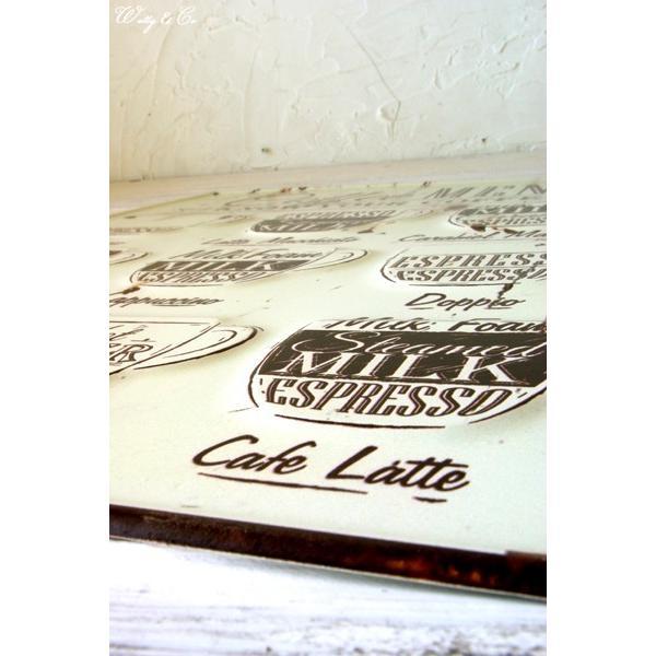 ティンプレートL Coffee Menu エンボス加工 ( ブリキ看板 壁掛け 壁飾り メタルプレート サインプレート スチールサイン メタルサイン ) KISP|wutty|02