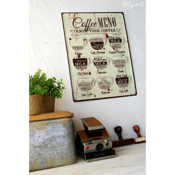 ティンプレートL Coffee Menu エンボス加工 ( ブリキ看板 壁掛け 壁飾り メタルプレート サインプレート スチールサイン メタルサイン ) KISP|wutty|04