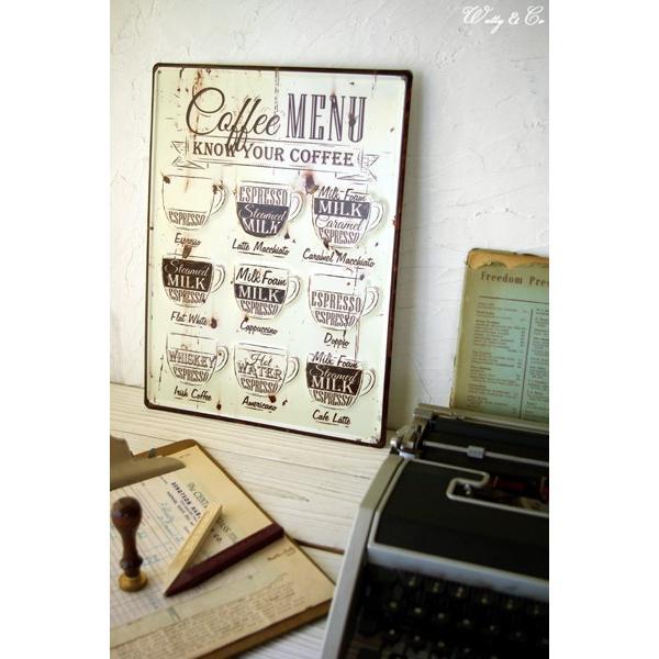 ティンプレートL Coffee Menu エンボス加工 ( ブリキ看板 壁掛け 壁飾り メタルプレート サインプレート スチールサイン メタルサイン ) KISP|wutty|05