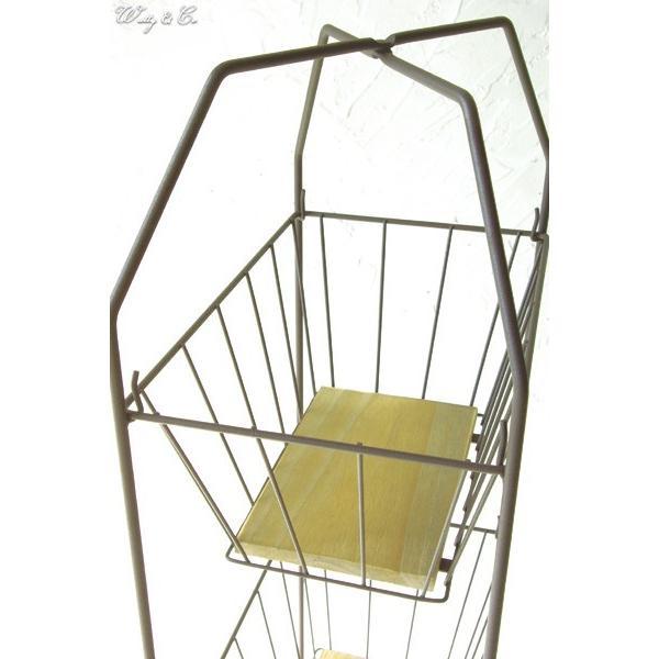 収納ラック 3段 ThreeWireRack Brown 組立式 ( ワイヤーバスケット アイアン 収納かご リビング ランドリー キッチン トイレ )|wutty|02