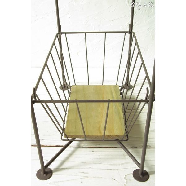 収納ラック 3段 ThreeWireRack Brown 組立式 ( ワイヤーバスケット アイアン 収納かご リビング ランドリー キッチン トイレ )|wutty|03