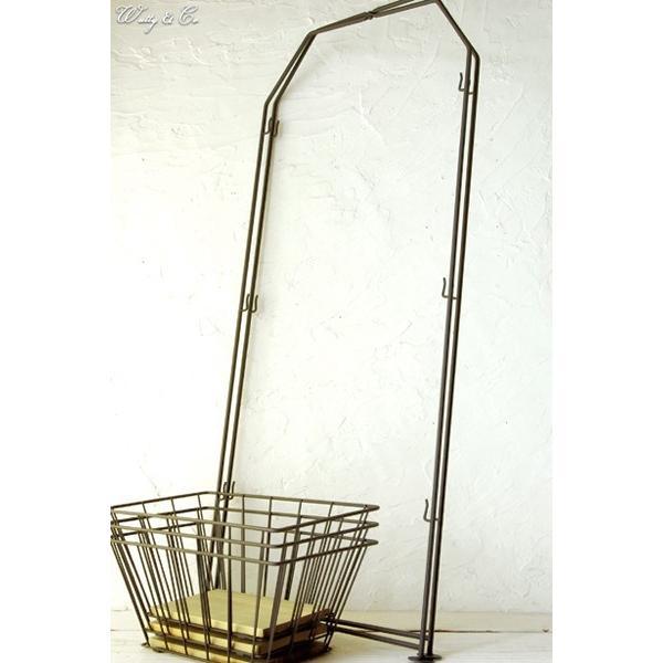 収納ラック 3段 ThreeWireRack Brown 組立式 ( ワイヤーバスケット アイアン 収納かご リビング ランドリー キッチン トイレ )|wutty|04