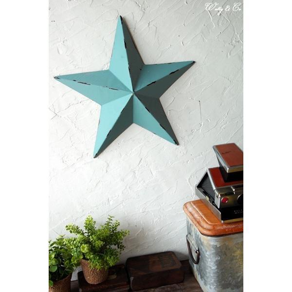 壁飾り STAR L-size Blue ( アンティーク調 置物 壁掛け 星型 オーナメント ブリキ ) KI|wutty|05