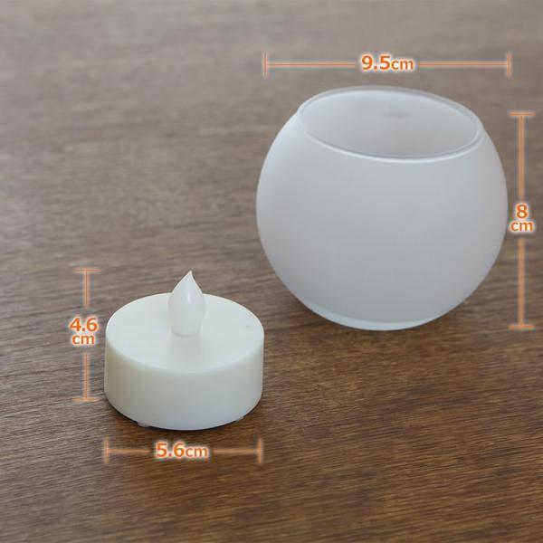 LEDキャンドルライト つや消しグラス入り 息の吹きかけでの消灯機能付き ゆらぎ照明 火を使わない安全なフェイクキャンドル ボール型 電池式 WY|wystyle|07