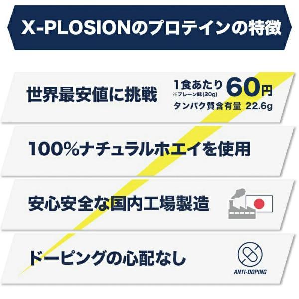 プロテイン エクスプロージョン 100%ホエイプロテイン 選べる3個セット 3kg 日本製 男性 女性 X-PLOSION|x-plosion|03