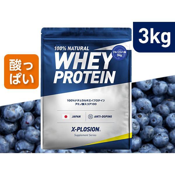 プロテイン エクスプロージョン 100%ホエイプロテイン ブルーベリー味 3kg 日本製 男性 女性 X-PLOSION x-plosion