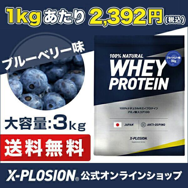 プロテイン エクスプロージョン 100%ホエイプロテイン ブルーベリー味 3kg 日本製 男性 女性 X-PLOSION x-plosion 02
