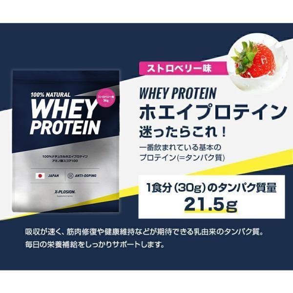 プロテイン エクスプロージョン 100%ホエイプロテイン ストロベリー味 3kg 日本製 男性 女性 X−PLOSION|x-plosion|03