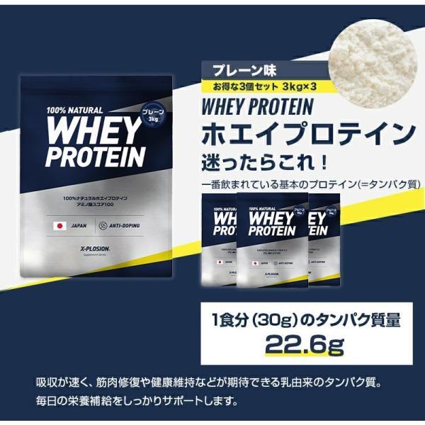 プロテイン エクスプロージョン 100%ホエイプロテイン プレーン味 3個セット 3kg×3個 合計9kg 日本製 男性 女性 X-PLOSION|x-plosion|03