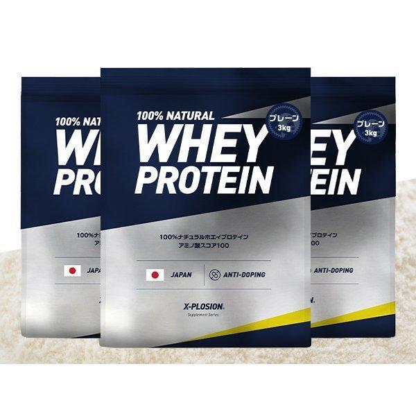 プロテイン エクスプロージョン 100%ホエイプロテイン プレーン味 3個セット 3kg×3個 合計9kg 日本製 男性 女性 X-PLOSION|x-plosion|04