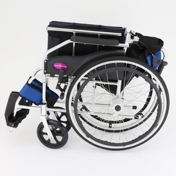 車椅子 軽量 折りたたみ カドクラ チャップス オーシャンブルー A101-AB 自走用 自走介助兼用 送料無料 全10色 kadokura|xenashopping|10