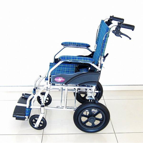 車椅子 全4色 介護用 車イス 送料無料 カドクラ KADOKURA クラウド ブルーチェック A604-ACP xenashopping 05
