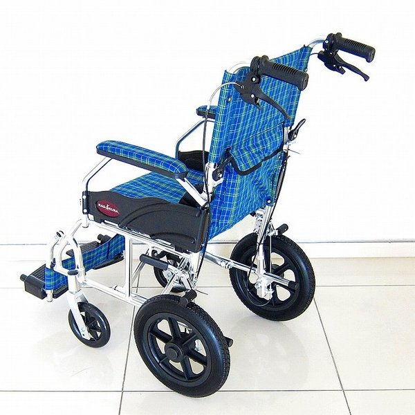 車椅子 全4色 介護用 車イス 送料無料 カドクラ KADOKURA クラウド ブルーチェック A604-ACP xenashopping 06