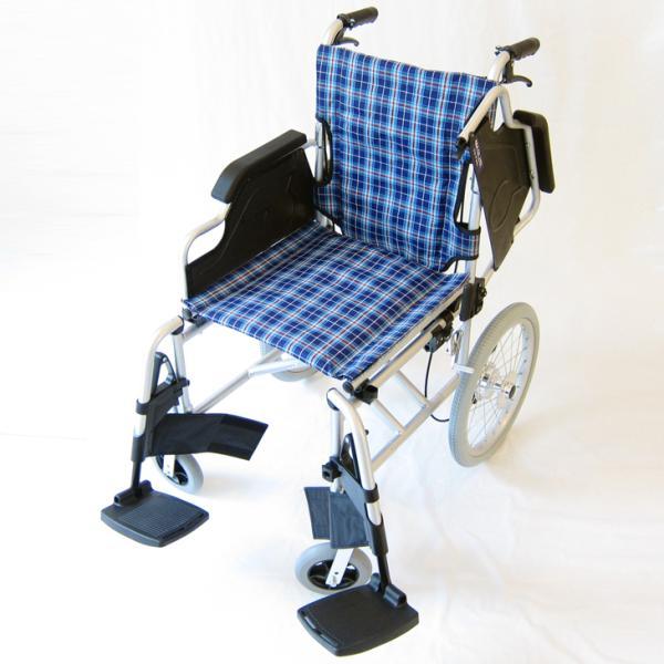 車椅子 介護用 介助式 軽量 折り畳み 車イス 送料無料 カドクラ KADOKURA ビスケット ブルー B602-AKB 多機能|xenashopping|04