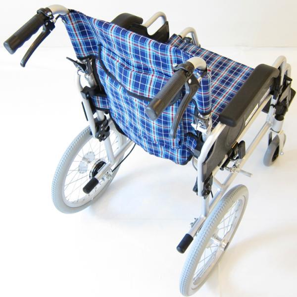 車椅子 介護用 介助式 軽量 折り畳み 車イス 送料無料 カドクラ KADOKURA ビスケット ブルー B602-AKB 多機能|xenashopping|05