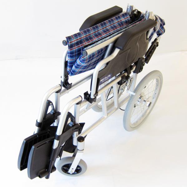 車椅子 介護用 介助式 軽量 折り畳み 車イス 送料無料 カドクラ KADOKURA ビスケット ブルー B602-AKB 多機能|xenashopping|07