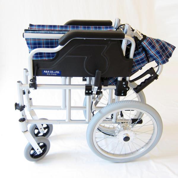 車椅子 介護用 介助式 軽量 折り畳み 車イス 送料無料 カドクラ KADOKURA ビスケット ブルー B602-AKB 多機能|xenashopping|08