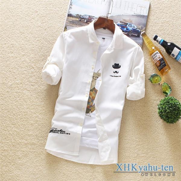 カジュアルシャツ メンズ 白シャツ 50代 長袖シャツ 秋物 開襟シャツ おしゃれ トップス スリム ビジネス 通学 セール|xhkyafu-ten|05
