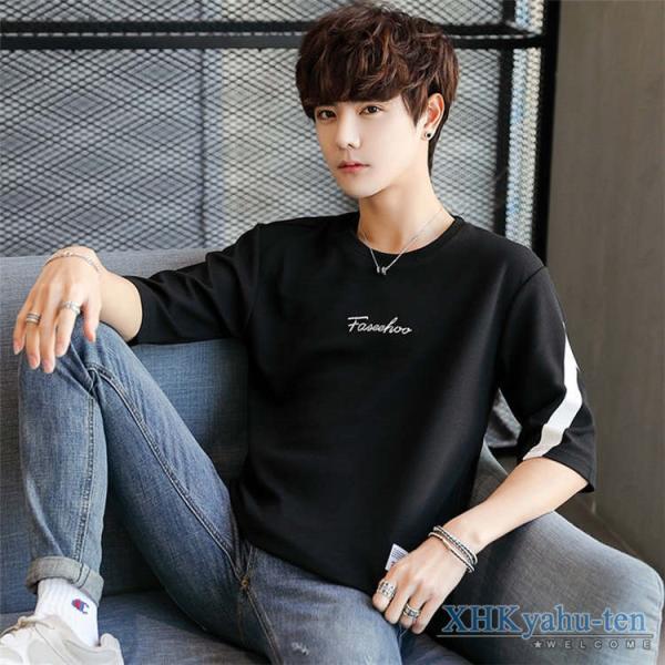 Tシャツ カジュアルTシャツ メンズ 5分袖 トップス クルーネック 五分袖Tシャツ 細身 メンズファッション|xhkyafu-ten|09