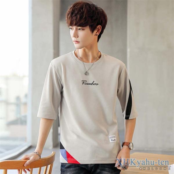 Tシャツ カジュアルTシャツ メンズ 5分袖 トップス クルーネック 五分袖Tシャツ 細身 メンズファッション|xhkyafu-ten|18