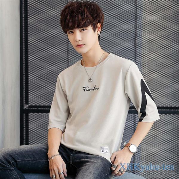 Tシャツ カジュアルTシャツ メンズ 5分袖 トップス クルーネック 五分袖Tシャツ 細身 メンズファッション|xhkyafu-ten|10
