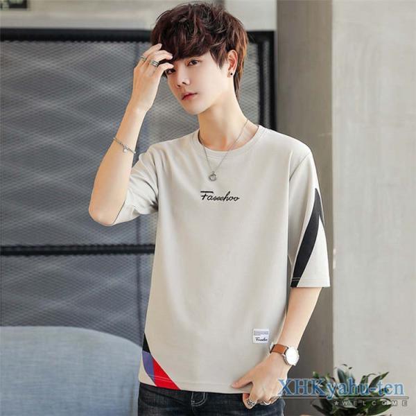 Tシャツ カジュアルTシャツ メンズ 5分袖 トップス クルーネック 五分袖Tシャツ 細身 メンズファッション|xhkyafu-ten|11