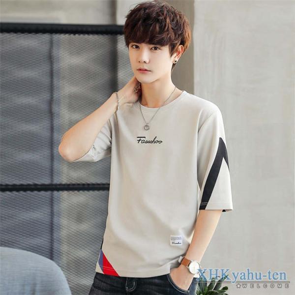 Tシャツ カジュアルTシャツ メンズ 5分袖 トップス クルーネック 五分袖Tシャツ 細身 メンズファッション|xhkyafu-ten|12