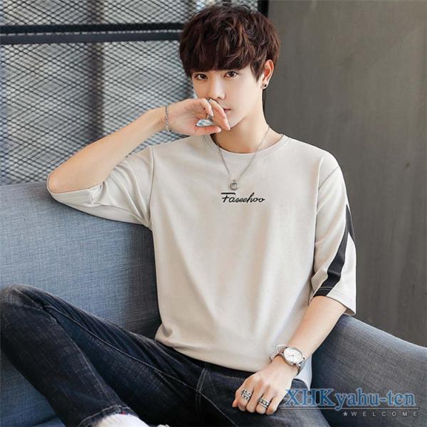 Tシャツ カジュアルTシャツ メンズ 5分袖 トップス クルーネック 五分袖Tシャツ 細身 メンズファッション|xhkyafu-ten|13