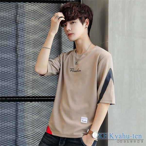 Tシャツ カジュアルTシャツ メンズ 5分袖 トップス クルーネック 五分袖Tシャツ 細身 メンズファッション|xhkyafu-ten|19