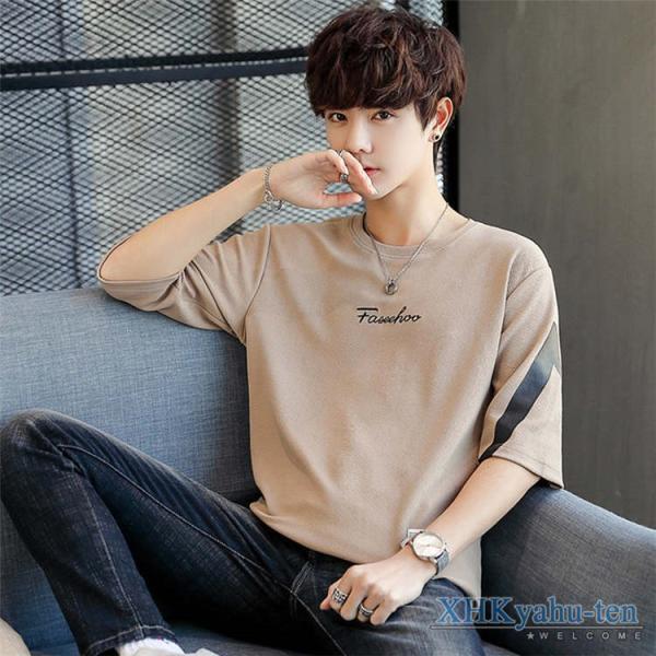 Tシャツ カジュアルTシャツ メンズ 5分袖 トップス クルーネック 五分袖Tシャツ 細身 メンズファッション|xhkyafu-ten|15