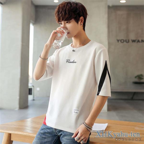 Tシャツ カジュアルTシャツ メンズ 5分袖 トップス クルーネック 五分袖Tシャツ 細身 メンズファッション|xhkyafu-ten|05