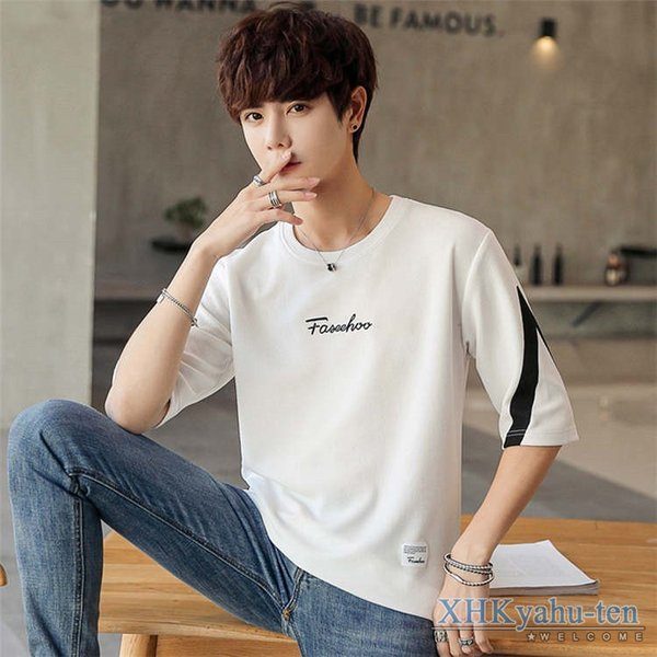 Tシャツ カジュアルTシャツ メンズ 5分袖 トップス クルーネック 五分袖Tシャツ 細身 メンズファッション|xhkyafu-ten|06