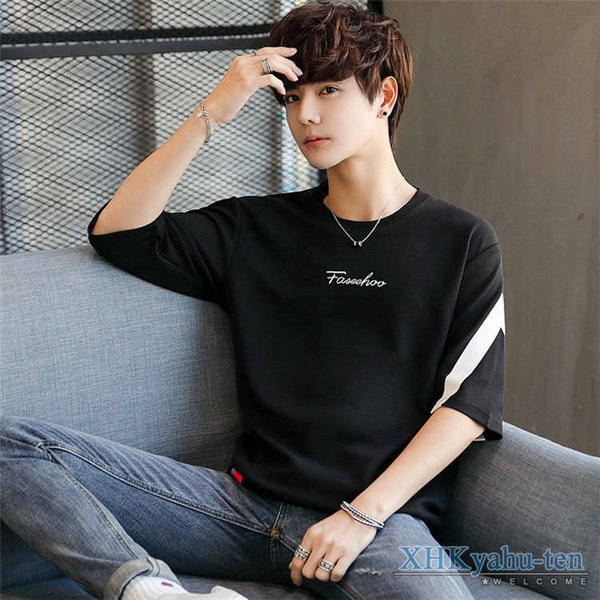 Tシャツ カジュアルTシャツ メンズ 5分袖 トップス クルーネック 五分袖Tシャツ 細身 メンズファッション|xhkyafu-ten|07